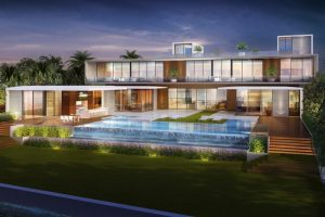 House render with infinity pool in backyard
