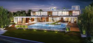 Big house with pool at night