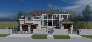 House render with white walls