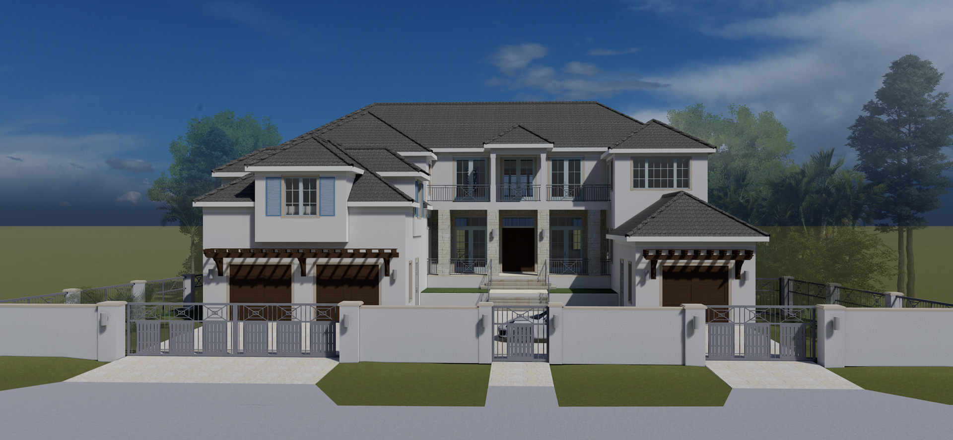 House render with white walls and dark roof