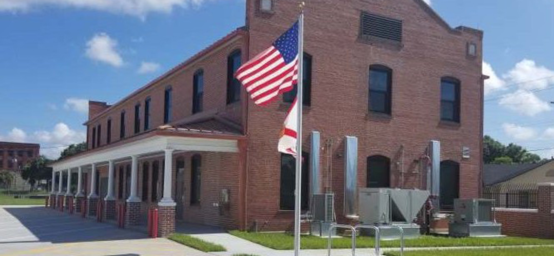 National Guard Armory with american flag outside