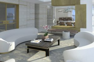 Living area render with round couches